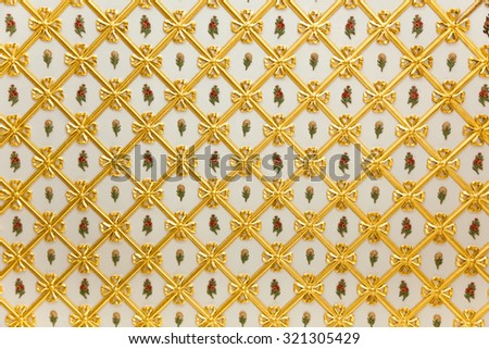 Old Golden Pattern - geometric and flowers decoration on white - more than 200 years old - stock photo