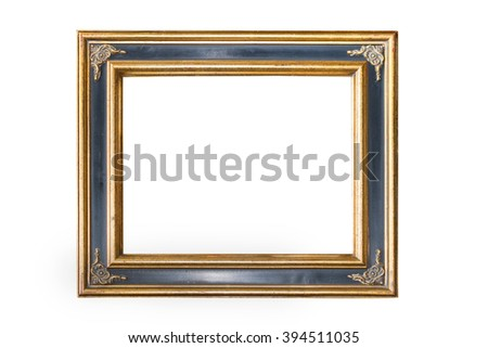 Old golden picture frame on white background - stock photo