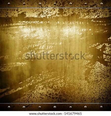 old golden plate - stock photo