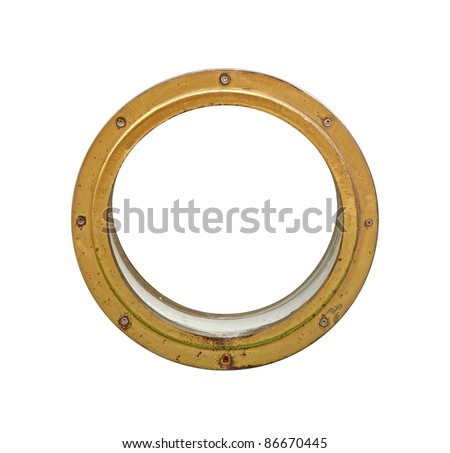 Old golden porthole isolated on white – just place your individual message - stock photo