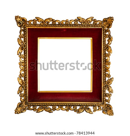 old  golden retro frame, with red velvet,  baroque style,  isolated on white  (detailed clipping paths included) - stock photo