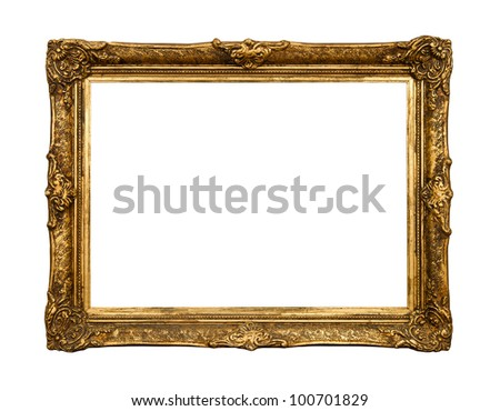 Old golden retro mirror frame (No#20) isolated on white background  (detailed clipping paths included) - stock photo