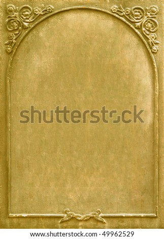 Old golden signboard with ornament - stock photo