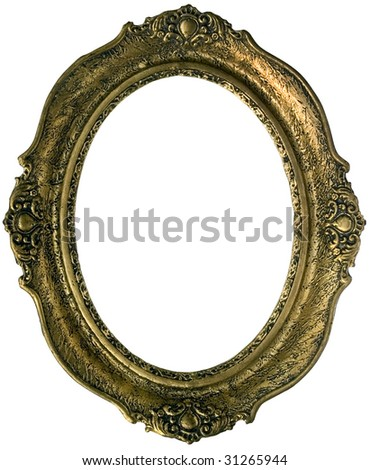Old golden wooden frame isolated with clipping path inside and outside - stock photo