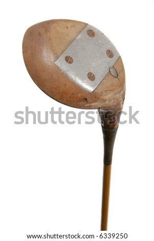 Old golf club wooden and metal - stock photo