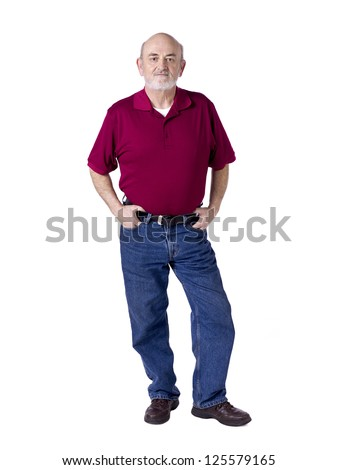 Old good looking man with hands on belt and pocket