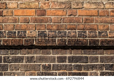 Old Gothic Brick Wall Foundation Line Stock Photo Royalty Free 692796844