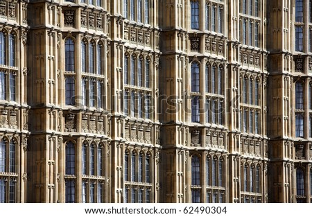 old gothic building wall and windows - stock photo