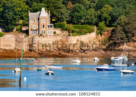 Old gothic castle on Cote de Granit Rose coast, Brittany, France - stock photo