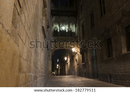Old Gothic Quarter (Barri Gotic) in Barcelona at night.