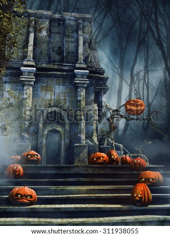 Old gothic ruins with spooky Halloween pumpkins and trees - stock photo