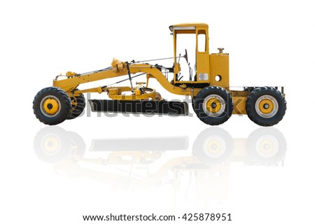 Old grader construction machinery equipment positioned on a white background, This is a public in thailand