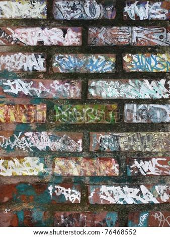 Old graffiti on wall - stock photo