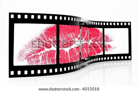 Old grainy  film strip with lipstick kiss - stock photo