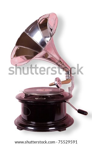 Old gramophone isolated on the white with clipping path - stock photo