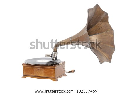 old gramophone isolated on white - stock photo