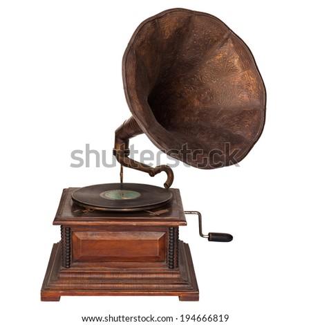 Old gramophone isolated on white background - stock photo