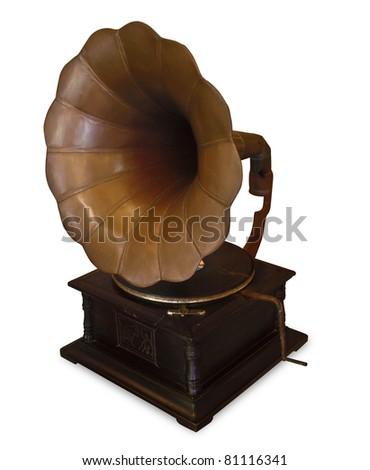Old gramophone on white background - stock photo