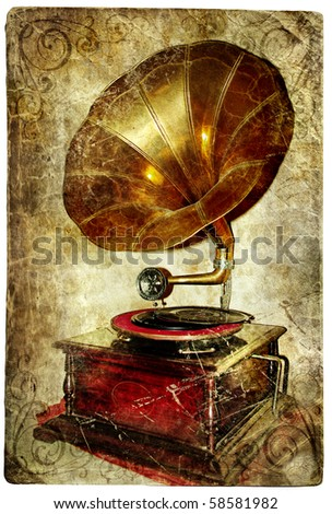 old gramophone -retro styled picture - stock photo