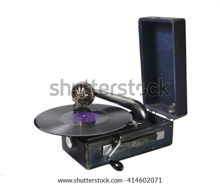 old gramophone with a gramophone record on a white background - stock photo