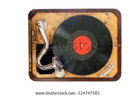 Old gramophone with black vinyl record. view from the top. Isolated object. - stock photo