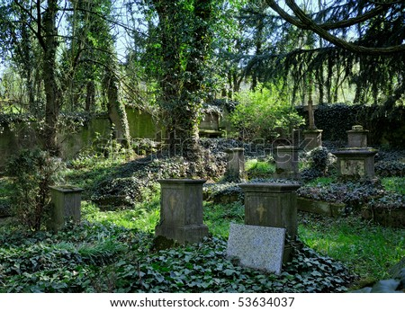 Old graveyard at a sunny day - stock photo