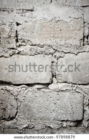 Old gray brick wall texture - stock photo