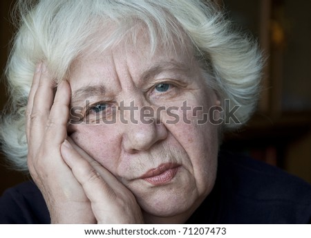 Old gray-haired woman. Series - stock photo