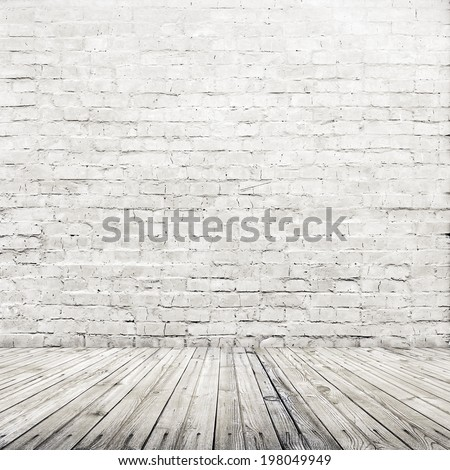 old gray room with brick wall, vintage background  - stock photo