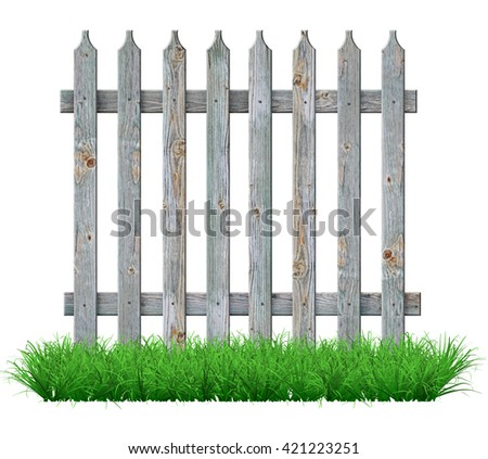 Old gray wooden fence on the lawn. 3D illustration           - stock photo
