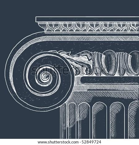 Old greek column - stock photo