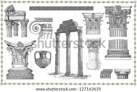 Old greek columns set illustration - stock photo