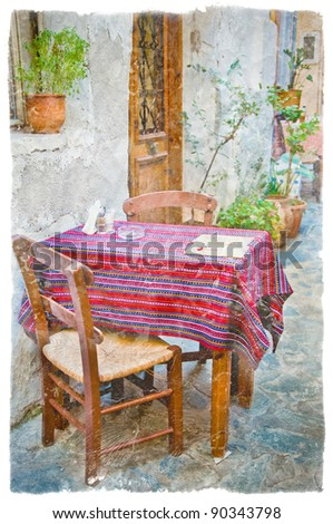 Old greek streets, Chania, Crete - stock photo