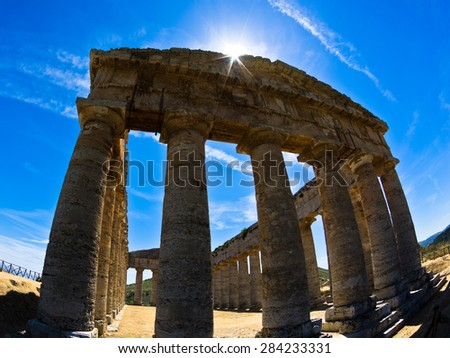 Old greek temple at Segesta, Sicily, Italy - stock photo