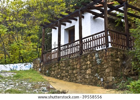 Old Greek traditional wood-stone house near Edessa city in Macedonia prefecture