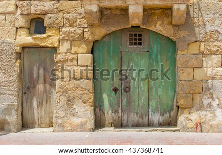 Old green and brown wooden vintage doors in ruin middle age limestone house - Malta & Old Green Brown Wooden Vintage Doors Stock Photo (Royalty Free ...