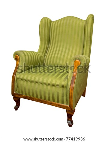 old green armchair isolated on white - stock photo
