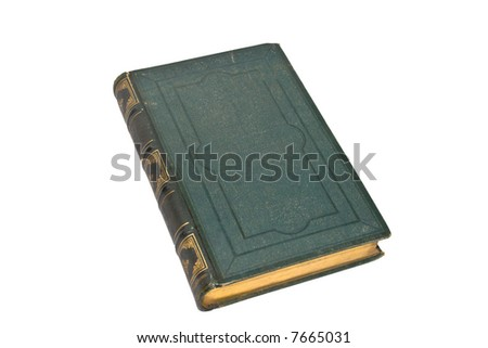 Old green book isolated on white background