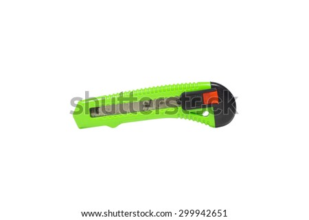 Old green box cutter and rust isolated on white background