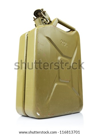 Old green canister of gasoline on white background. File contains a path to isolation. - stock photo