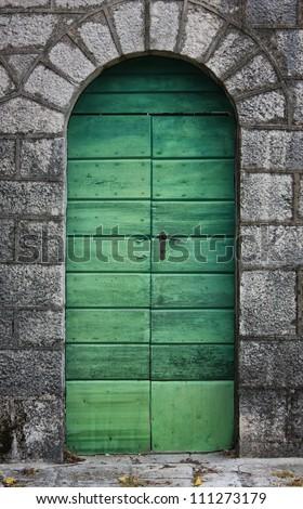 Old green door - stock photo