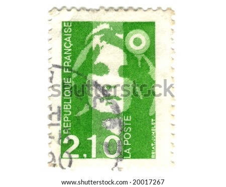 Old green french stamp