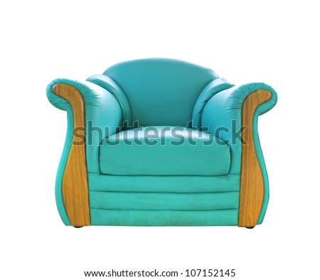 old green leather sofa isolated on white - stock photo