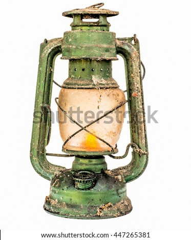 Old green lit vintage lamp, isolated on white background. - stock photo