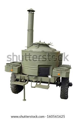 Old green military mobile kitchen isolated on white. clipping mask