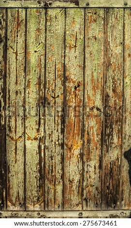 Old green orange timber wooden background, texture - stock photo