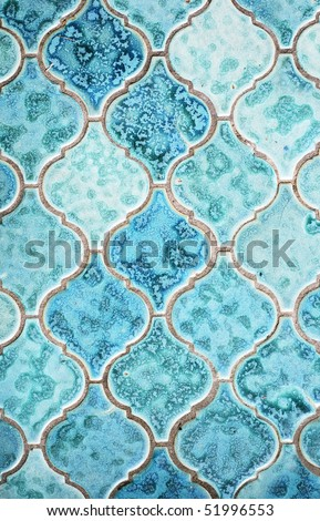 Old green tile background - stock photo