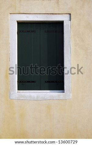 Old Green Wooden Window Historical Building In Venice, Italy