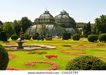old greenhouse in schonbrunn palace at Vienna Austria - stock photo