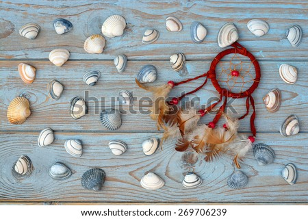 old grey blue knotted wood with sea shells and brown red dream catcher